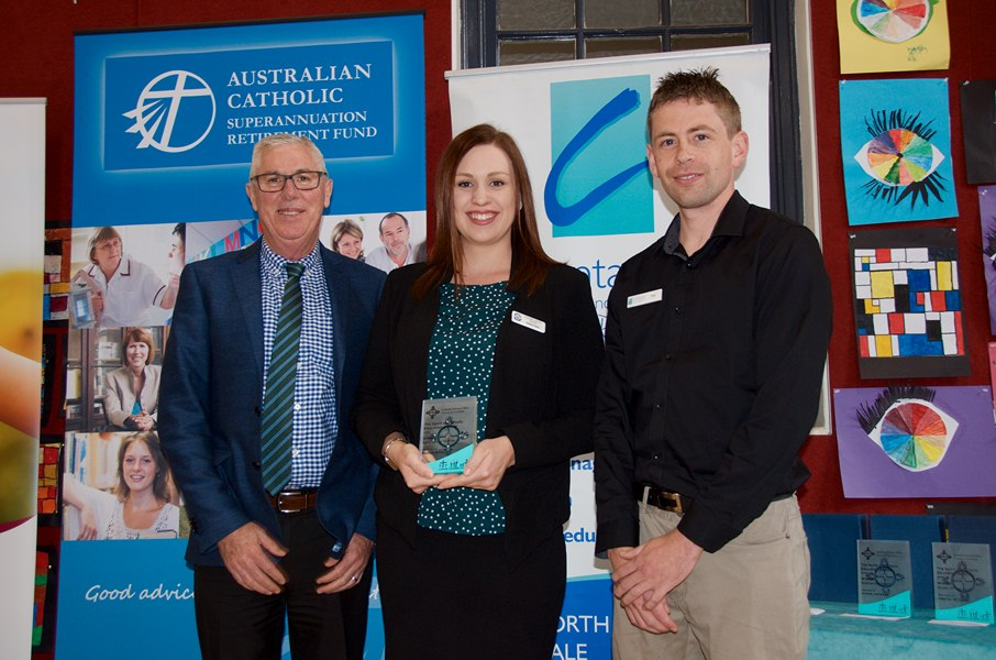 Melissa Ware receiving the Early Career Teacher Award at the Spirit of Catholic Education Awards in Armidale as part of Catholic Schools Week