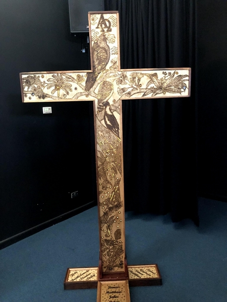 Year of The Youth Cross  designed and made by Frank Patricks a Teacher from McCarthy Catholic College in Tamworth